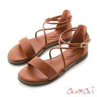 【amai】《回頭率女神》維也納霧感繞帶一字涼鞋(栗子棕)