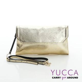 【YUCCA】金屬色牛皮壓紋手拿/肩背包-金色(D0110C17)