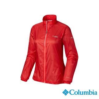 【Columbia 哥倫比亞】女款-野跑 輕量防潑風衣-橘紅(UAR26810AH / 排汗.抗UV.酷涼)