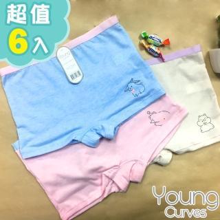 【Young Curves】動物好朋友親膚女兒童內褲(混色6件組)