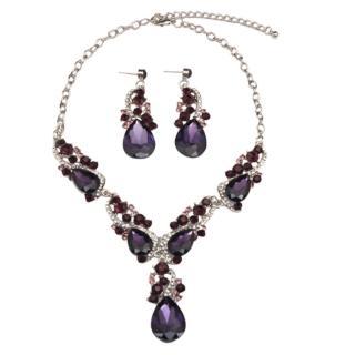 【RJ New York】巴洛克宮庭華麗滿鑽水晶耳環項鍊2件套組(6色可選針式套組)