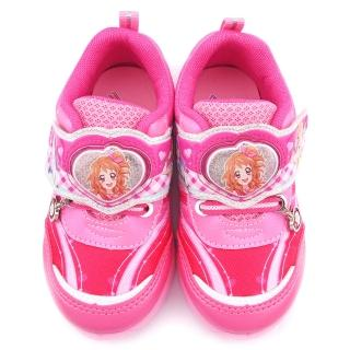 【童鞋城堡】偶像學園 中大童 印刷布料輕量彈性LED電燈運動鞋(ID5200-桃)