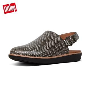 【FitFlop】SAGE DOTTED-SANKE LEATHER BACK-STRAP MULES 蛇紋釘飾後帶穆勒鞋-女(蛇紋)