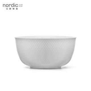 【北歐櫥窗】Lyngby Porcelan Rhombe 菱紋 白瓷服務碗(直徑 22 cm)