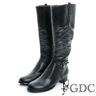 【GDC】側扣帶吊飾抓皺造型真皮長靴-黑色(829301)