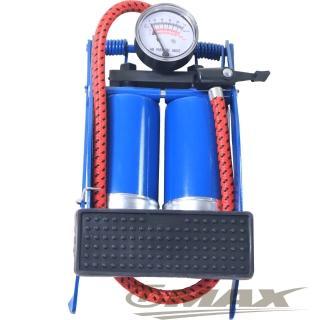 【鐵馬行】台製雙管打氣筒+4件式充氣組-藍色(12H)