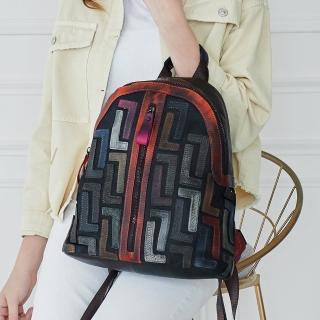 【2R手工真皮】頭層牛皮L設計炫彩注目後背包