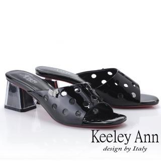 【Keeley Ann】造型透視跟 斜面點點鏤空拖鞋(黑色921932810-Ann系列)