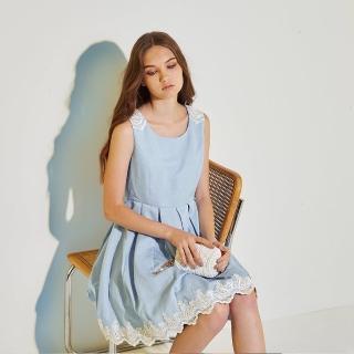 【ICHE 衣哲】精緻浮水印花拼接3D蕾絲雕花造型禮服洋裝-藍-共2色