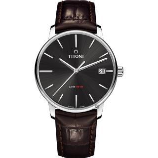 【TITONI 梅花錶】LINE1919 百年紀念 T10 機械錶-炭黑x咖啡錶帶/40mm(83919 S-ST-576)