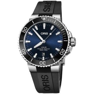 【ORIS 豪利時】水鬼 Aquis 時間之海潛水300米日期機械錶-藍x黑色膠帶/43.5mm(0173377304135-0742464EB)