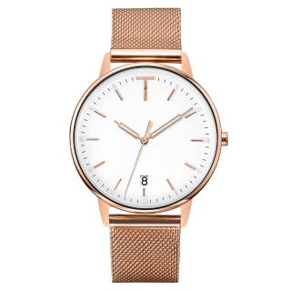 【TYLOR】潮流T時尚日期腕錶-玫瑰金X白(TLAD012)