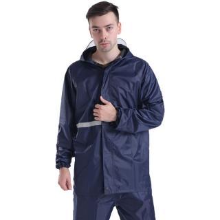 機車戶外活動反光兩件式雨衣雨褲 藏藍 多尺寸可選