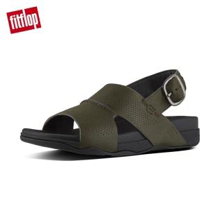 【FitFlop】BANDO BACK STRAP SANDALS IN PERFORATED LEATHER柔軟皮革後帶涼鞋-男(迷彩綠)