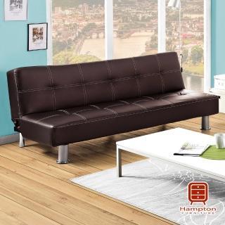 【Hampton 漢妮】勞倫斯時尚簡約咖啡色沙發床(沙發床/咖啡色沙發床/簡約沙發床)