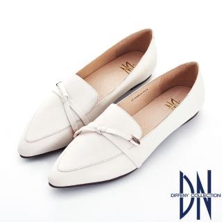 【DN】英倫風尚 質感樂福真皮微尖頭包鞋(杏)