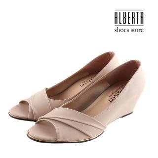 【Alberta】跟鞋-MIT台灣製 皮質鞋面 魚口跟高7CM楔型鞋 高跟鞋