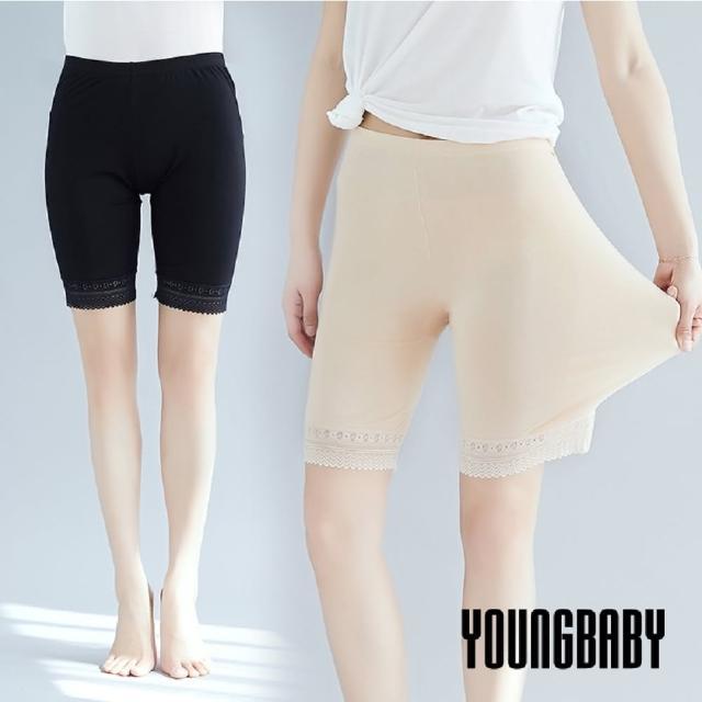 【YOUNGBABY】高腰蕾絲花邊下擺內搭五分褲(2件組)/