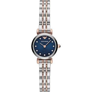 【EMPORIO ARMANI】義式風情晶鑽時尚女錶-藍x雙色/22mm(AR11222)