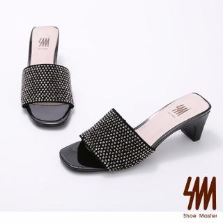【SM】華麗水鑽方頭高跟拖鞋(華麗水鑽方頭高跟拖鞋)