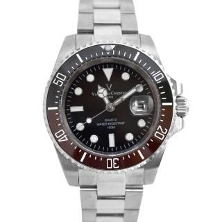 【Valentino Coupeau】黑咖外框不鏽鋼石英錶