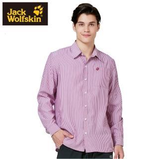 【Jack wolfskin 飛狼】男 長袖排汗條紋襯衫(紅條)