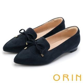 【ORIN】舒適樂活 百搭麂皮布面樂福平底鞋(深藍)