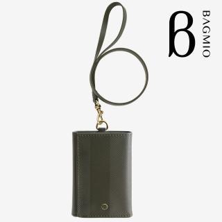 【BAGMIO】三摺式牛皮鈔票卡片夾(橄欖綠附皮帶)