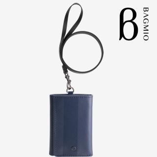 【BAGMIO】三摺式牛皮鈔票卡片夾(午夜藍附皮帶)