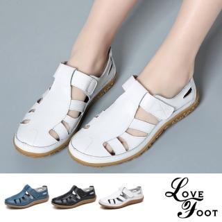 【LOVE FOOT 樂芙】真皮復古舒適防滑機能縷空拼接休閒鞋 涼鞋(3色任選)
