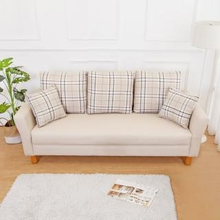 【BODEN】米洛克貓抓皮沙發三人椅/三人座(送抱枕-二色可選)