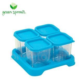 【Green Sprouts】副食品小分裝盒120ml(一組4入-玻璃-藍色)