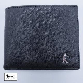 【SWORD PLAYER】短夾進口牛皮十字紋短拉鏈零錢袋真皮短夾(進口牛皮十字紋系列)