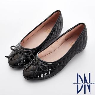 【DN】經典時尚 漆面菱格紋蝴蝶結娃娃鞋(黑)