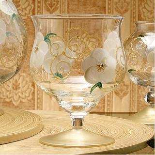 【Madiggan 貝斯麗】玫瑰系列手工彩繪寬口短腳燭杯(粉紅.紫色.金黃 三色可選)