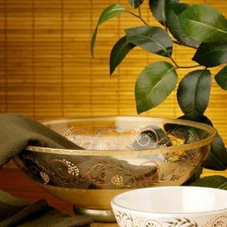 【Madiggan 貝斯麗】托斯卡尼手工彩繪開運玻璃碗(金紅.金綠可選)