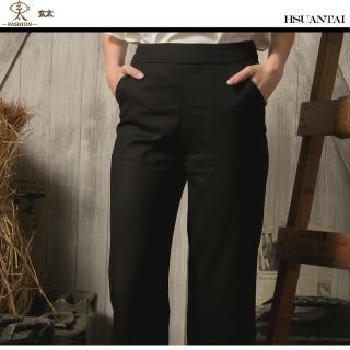 【玄太】質感後鬆緊褲頭舒適寬管八分褲(黑)