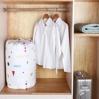 【E.City】2入-PEVA圓形束口搬家袋衣物棉被袋收納袋(材質防潮、防黴、防水)