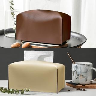 【收納職人】北歐ins創意輕奢皮革面紙盒/收納袋1入/組(棕色/米白色)