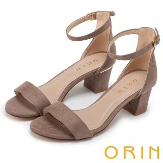 【ORIN】經典時尚 一字繫踝繞帶後包粗跟涼鞋(可可)
