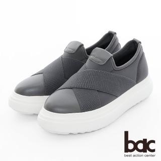 【bac】加州陽光 - 厚底台大交叉彈性織帶運動風休閒鞋(灰色)
