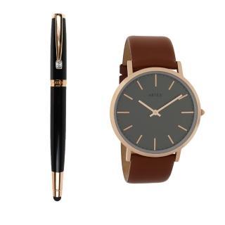 【ARTEX】ARTEX 雅致觸控鋼珠筆-玫瑰金/黑管+Style真皮手錶 褐/玫瑰金