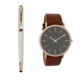 【ARTEX】ARTEX 雅致觸控鋼珠筆-玫瑰金/白管+Style真皮手錶 褐/玫瑰金