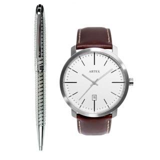 【ARTEX】ARTEX 雅爵原子筆-銀色琴鍵+5936真皮手錶-褐色/霧銀42mm 有日期窗