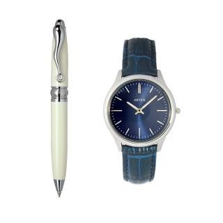 【ARTEX】ARTEX 方晶隨行白管+ 5605真皮手錶-寶藍/銀33mm