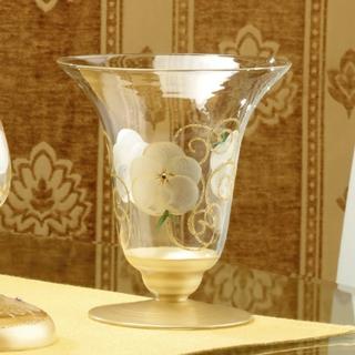 【Madiggan 貝斯麗】玫瑰系列 手工彩繪玻璃喇叭花瓶燭台(粉紅.紫色.金色 三色可選)