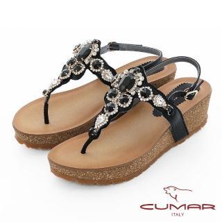 【CUMAR】情迷哈瓦那 -華麗大寶石波西米亞風格厚底台夾腳涼鞋(黑)