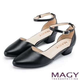【MAGY】都會優雅 素面繫踝釦環牛皮尖頭粗跟鞋(黑色)