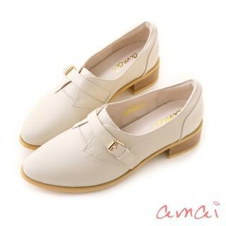 【amai】全真皮素面仿古皮帶扣飾紳士休閒鞋(杏)