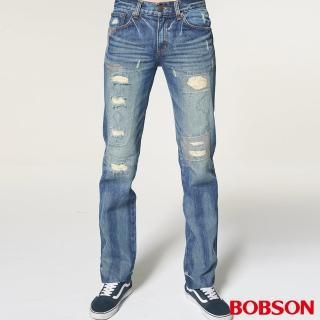 【BOBSON】男款貓鬚直筒破褲(1751-53)